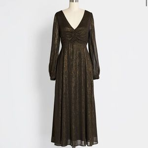 ModCloth Gold Dusted Dreams Midi Dress Size M